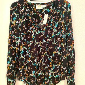 Maeve by Anthropologie Black Floral Blouse M NWT
